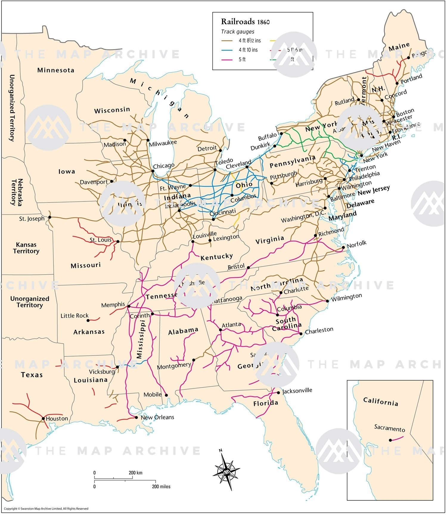 Map Of Us In 1860 1860 US Railroads