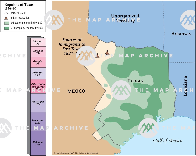 Texas Republic Map Republic of Texas 1836–60