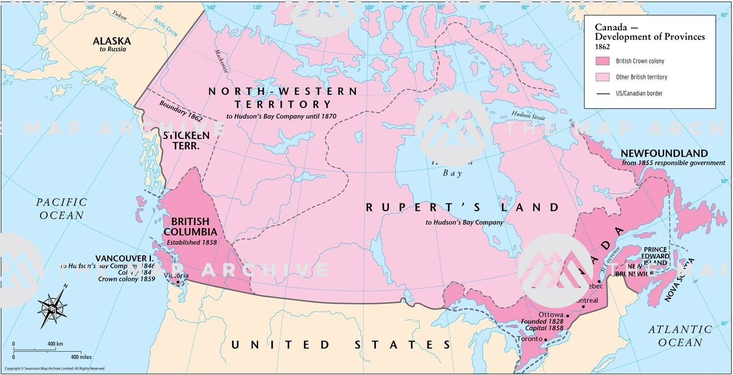 Map Of Canada In 1858 Canada – Development of Provinces 1862