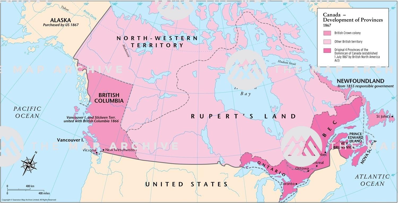 Canada Map 1860 Canada – Development of Provinces 1867