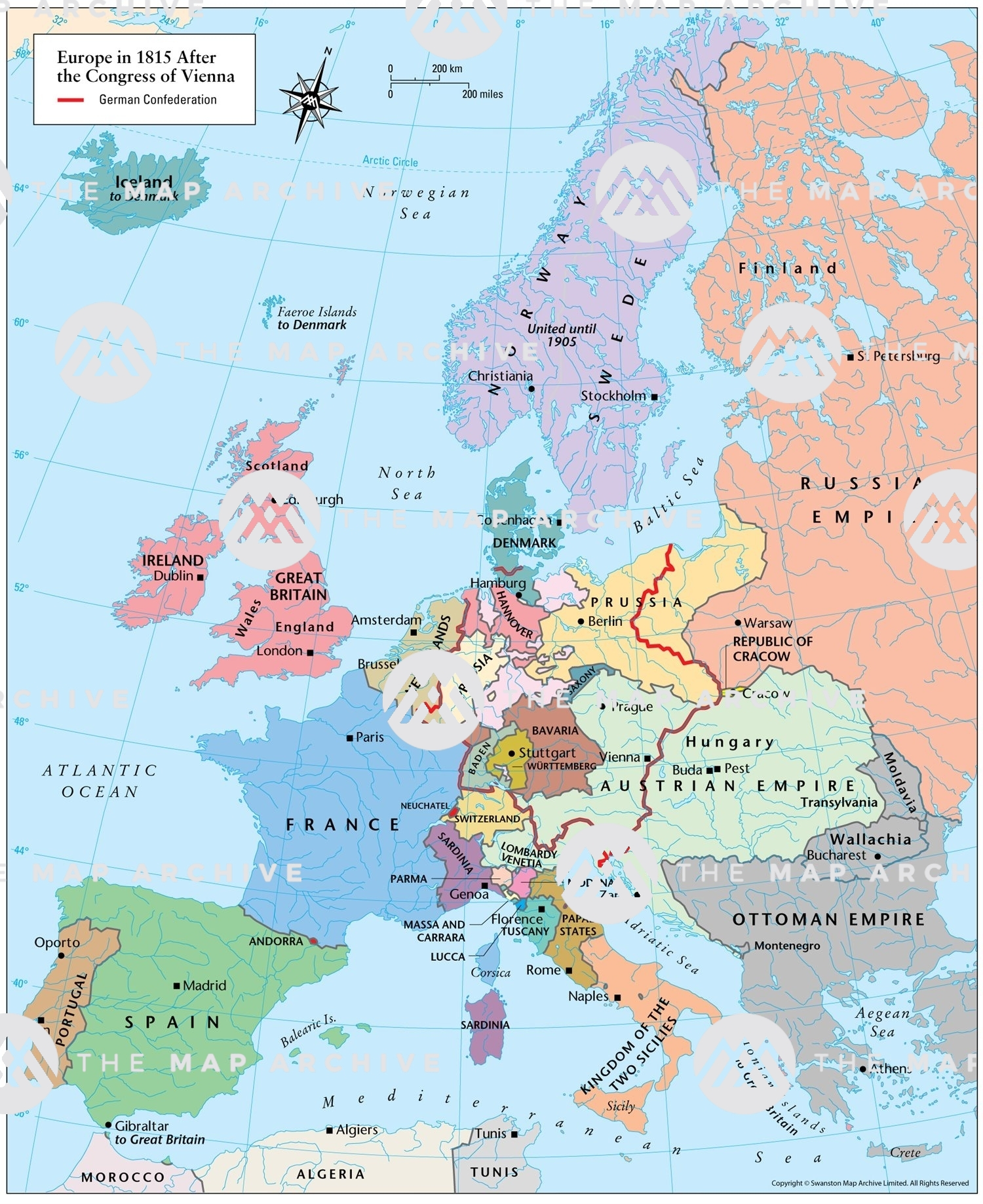 where is vienna in europe map Europe in 1815 After the Congress of Vienna
