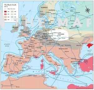 Map showing spread of Black Death in Europe from 1346 to 1353