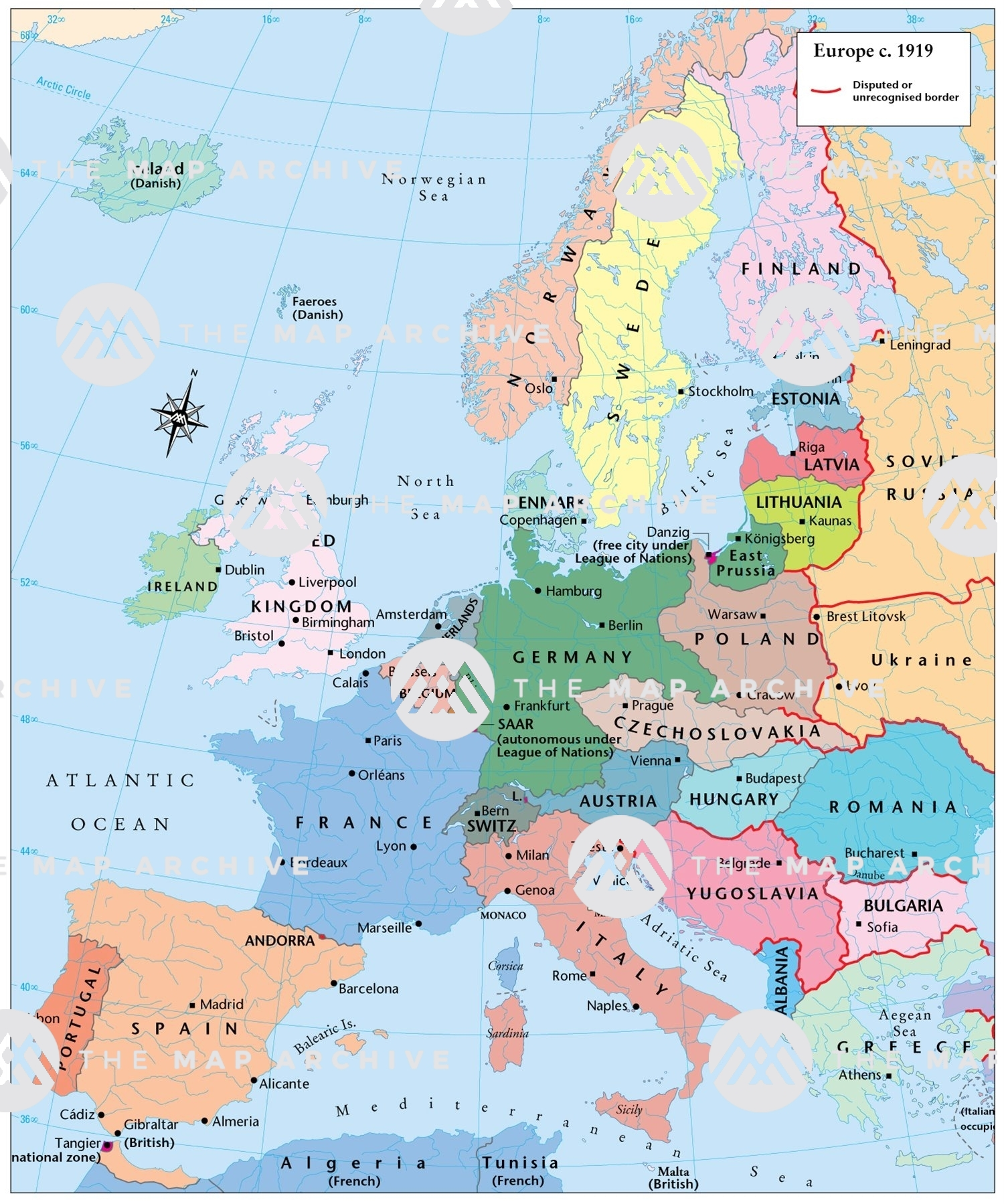 map of europe 1919 Europe c .1919