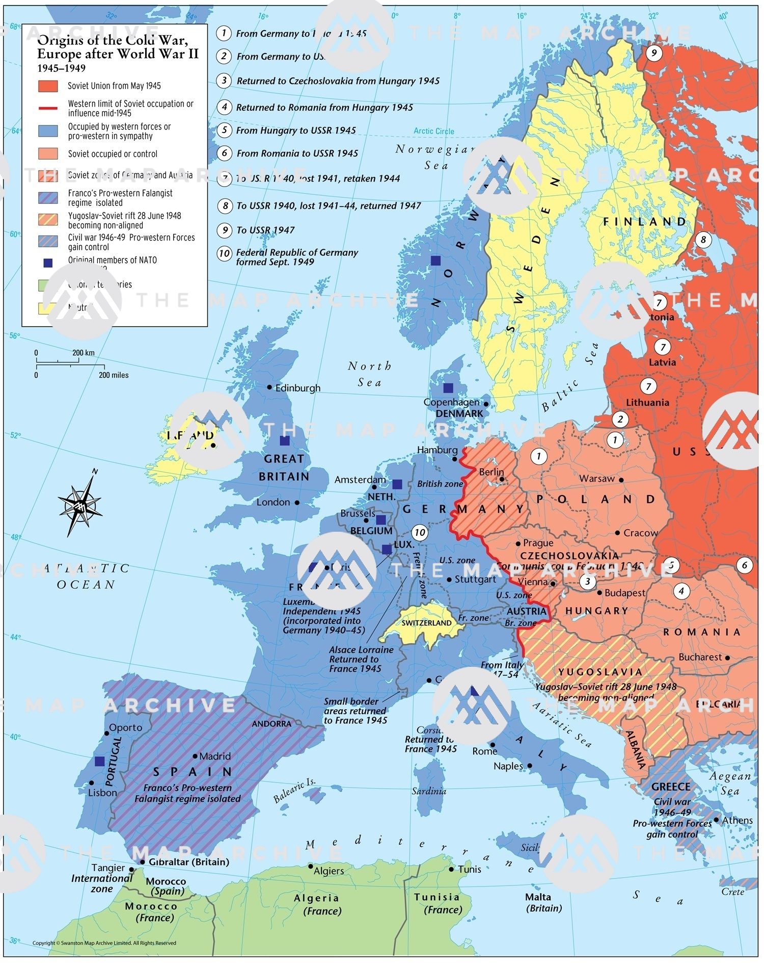 map of europe after ww2 Origins of the Cold War, Europe after World War II 1945–1949