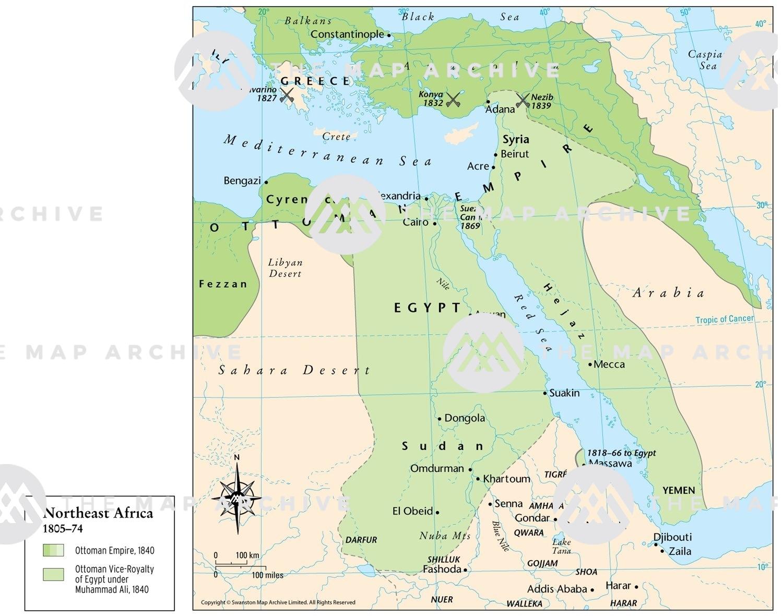 Map Northeast Africa Northeast Africa 1805–74