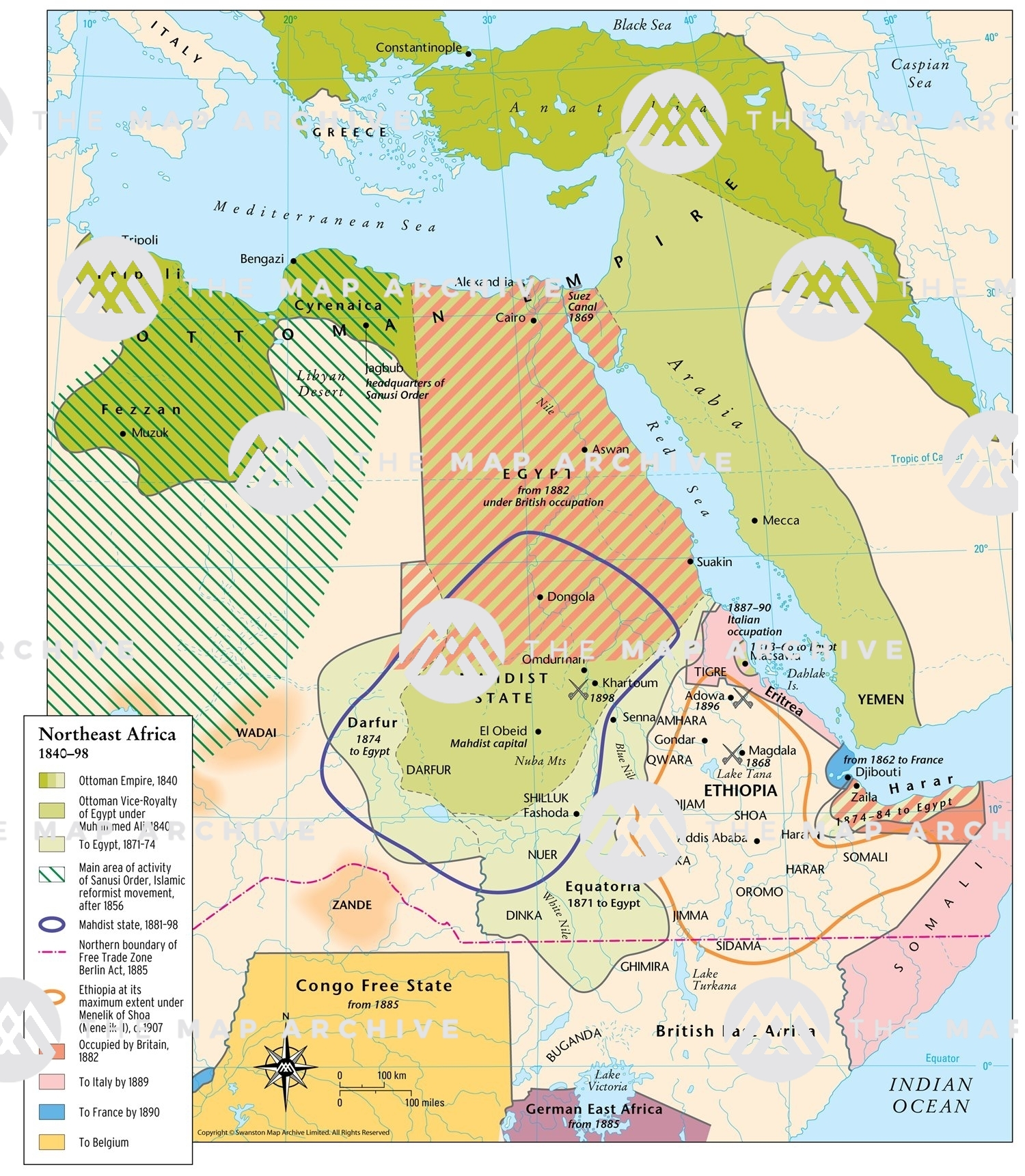 North East Africa Map Northeast Africa 1840–98