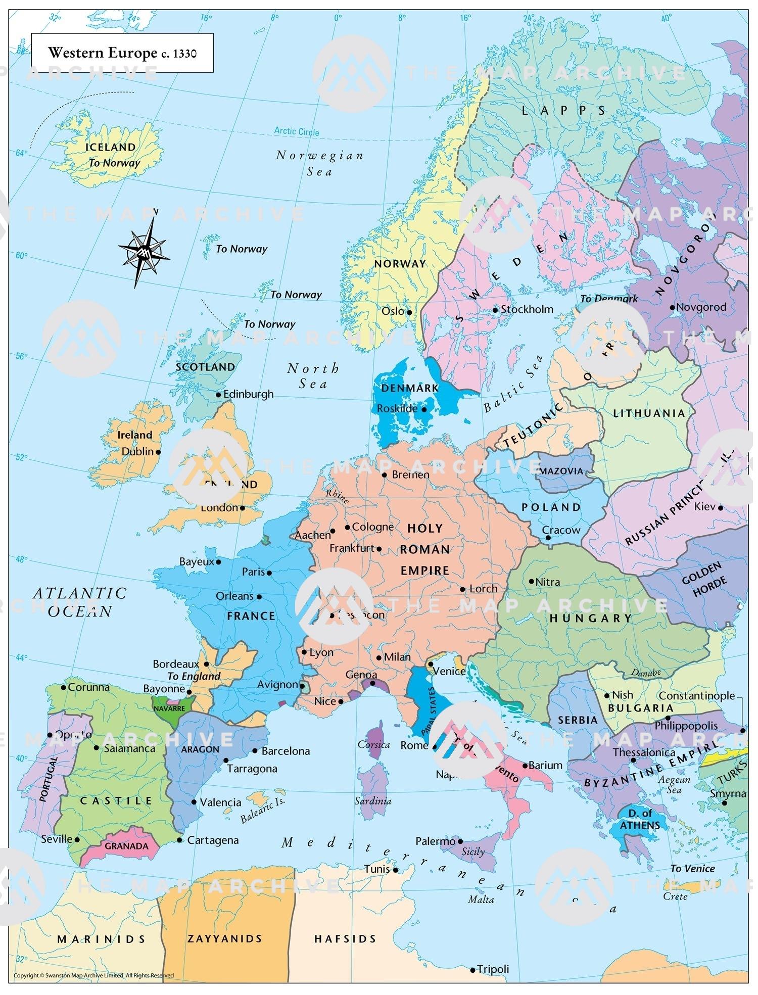 map of west europe Western Europe c. 1330