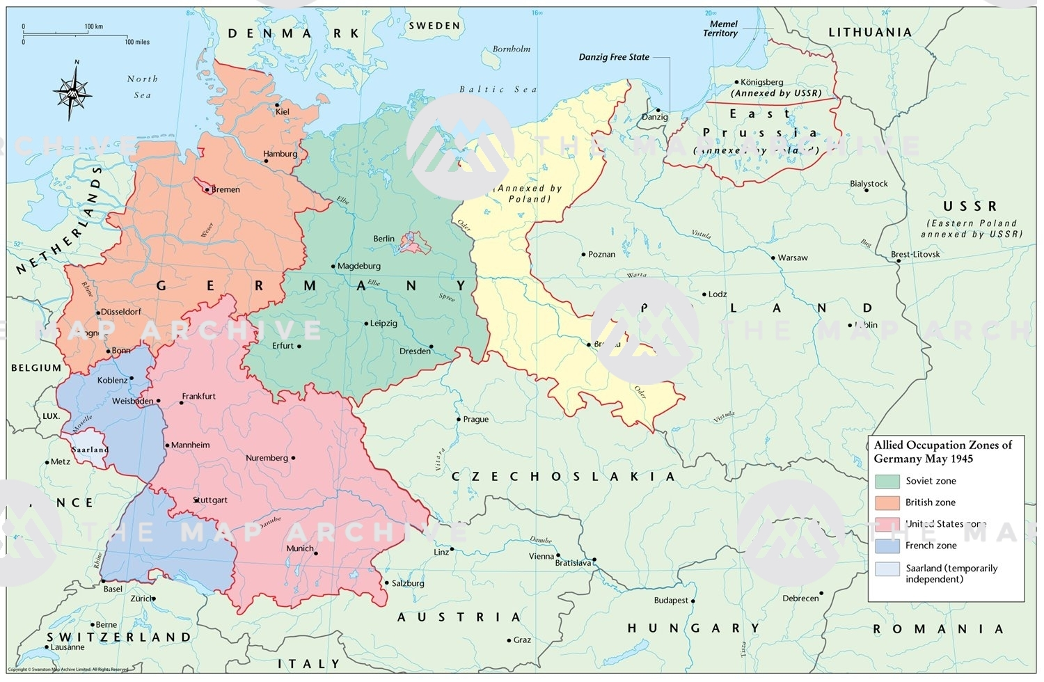 Allied Occupation Zones Of Germany May 1945