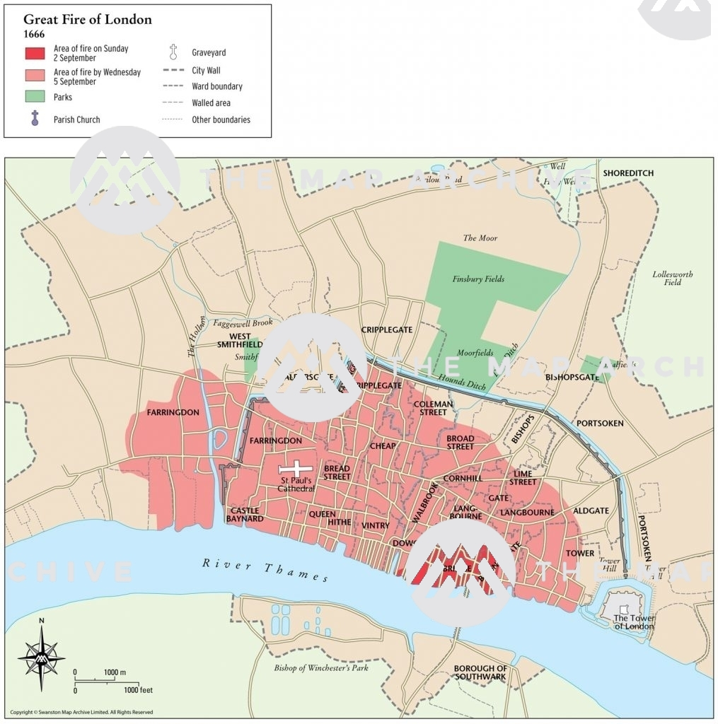 Map showing spread of Great Fire of London 1666