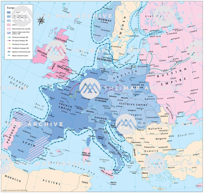 map of napoleonic europe 1812 Europe c. 1812
