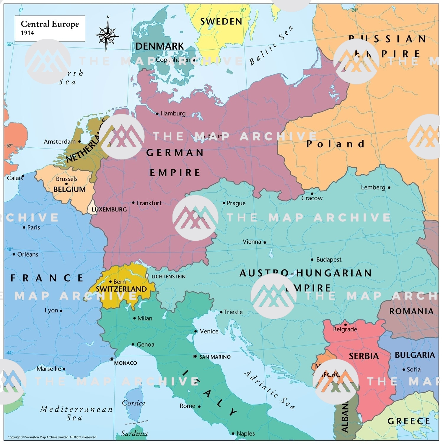 europe map in 1914 Central Europe 1914