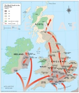 Map showing arrival of Black Death in Dorset in 1348 and eventua spread throughout British Isles