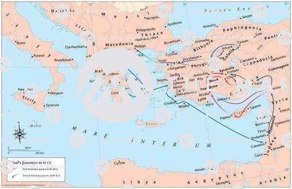 The routes of Paul's journeys in Asia Minor 46-51 CE