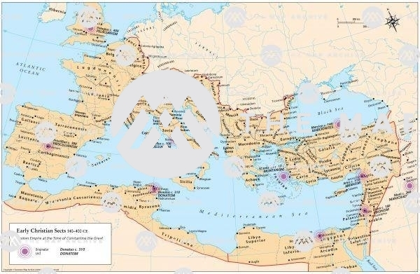 Early Christian sects and their location: Donatists, Manichaeans, Gnostics, Ebionites, Arians
