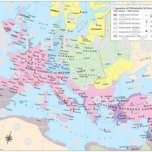 Map showing spread of Christianity to western Europe, Scandinavia and eastern Europe