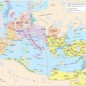 Map showin adoption of Arian heresy amongst barbarian peoples