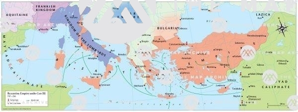 The Byzantine emperor Leo III's expedition against Exarchate of Ravenna, and iconoclastic edicts.