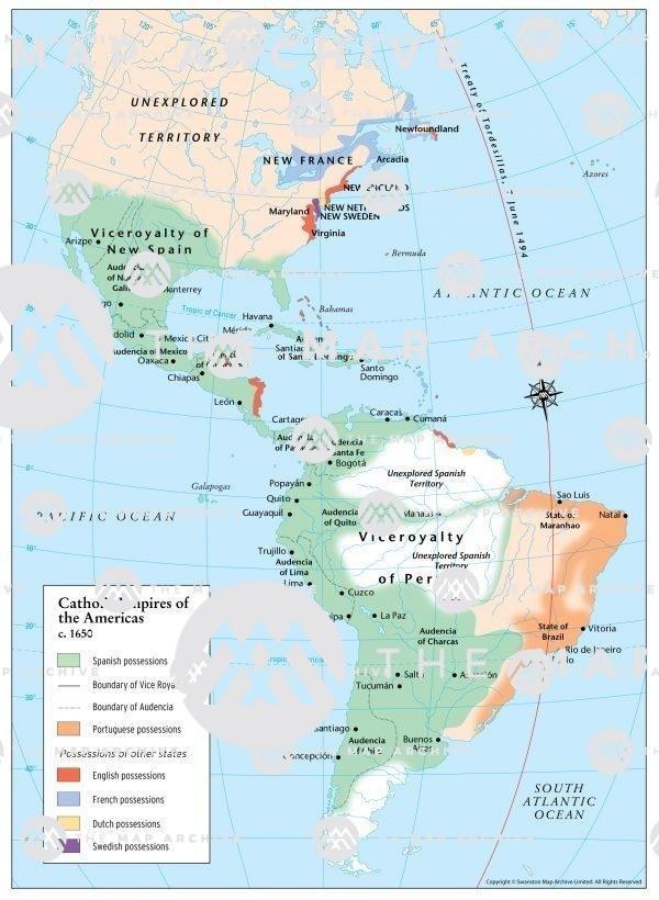 Catholic Empires of the Americas c. 1650