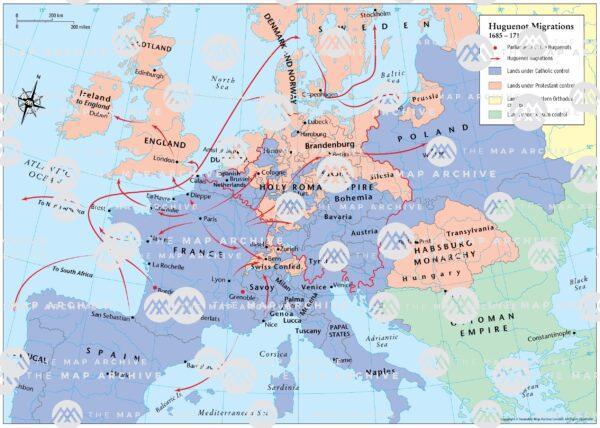 Huguenot Migrations in Europe 1685
